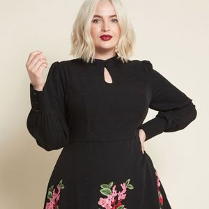 Modcloth Embroidered Detail Black Dress